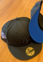 New Era New York Yankees Mens Black Tonal Blue UV 2000 WS Side Patch 59FIFTY Fitted Hat