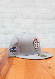 New Era San Francisco Giants Mens Grey Tonal Red Pop 2002 WS Side Patch 59FIFTY Fitted Hat
