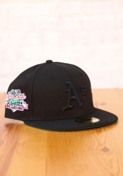 New Era Oakland Athletics Mens Black Tonal Green UV 1989 WS Side Patch 59FIFTY Fitted Hat