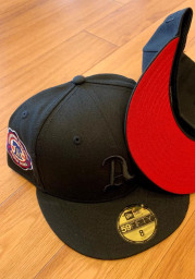 New Era Philadelphia Athletics Mens Black Tonal Red UV 1910 WS Side Patch 59FIFTY Fitted Hat