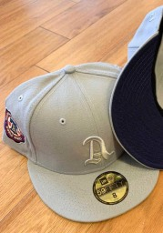 New Era Philadelphia Athletics Mens Grey Tonal Navy Pop 1910 WS Side Patch 59FIFTY Fitted Hat