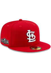 New Era St Louis Cardinals Mens Red AC 2020 Postseason Side Patch 59FIFTY Fitted Hat