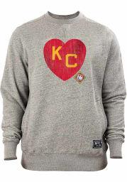 New Era Kansas City Monarchs Mens Charcoal KC Heart Long Sleeve Crew Sweatshirt