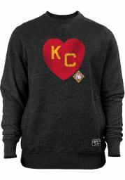 New Era Kansas City Monarchs Mens Black KC Heart Long Sleeve Crew Sweatshirt