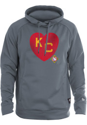 New Era Kansas City Monarchs Mens Charcoal KC Heart Long Sleeve Hoodie