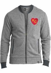 New Era Kansas City Monarchs Mens Grey KC Heart Long Sleeve Full Zip Jacket