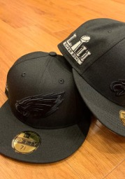 New Era Philadelphia Eagles Mens Black Tonal Super Bowl Side Patch 59FIFTY Fitted Hat