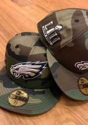 New Era Philadelphia Eagles Mens Green Super Bowl Side Patch 59FIFTY Fitted Hat