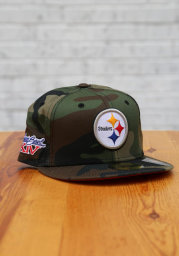 New Era Pittsburgh Steelers Mens Green Super Bowl Side Patch 59FIFTY Fitted Hat