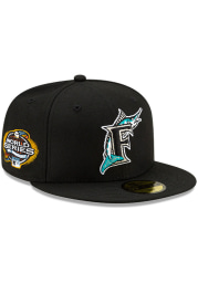 New Era Miami Marlins Mens Black Side Patch Paisley UV 59FIFTY Fitted Hat