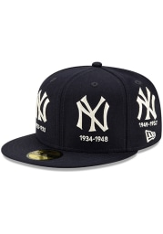 New Era New York Yankees Mens Navy Blue Logo Progression 59FIFTY Fitted Hat