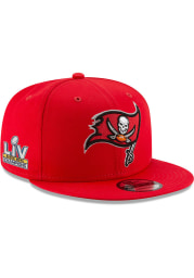 New Era Tampa Bay Buccaneers Red Super Bowl LV Champs Side Patch 9FIFTY Mens Snapback Hat