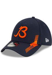 New Era Chicago Bears Mens Navy Blue 2021 Sideline Home 39THIRTY Flex Hat