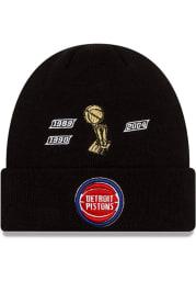New Era Detroit Pistons Black 2021 Champion Knit Mens Knit Hat
