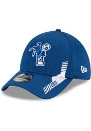 New Era Indianapolis Colts Mens Blue Retro 2021 Sideline Home 39THIRTY Flex Hat