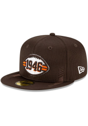 New Era Cleveland Browns Mens Brown 2021 Sideline Home 59FIFTY Fitted Hat