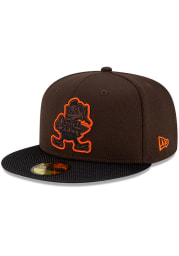 New Era Cleveland Browns Mens Brown 2021 Sideline Road 59FIFTY Fitted Hat