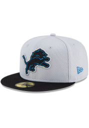 New Era Detroit Lions Mens Blue 2021 Sideline Road 59FIFTY Fitted Hat