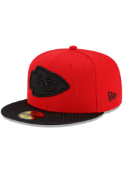 New Era Kansas City Chiefs Mens Red 2021 Sideline Road 59FIFTY Fitted Hat