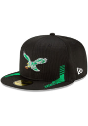 New Era Philadelphia Eagles Mens Green 2021 Sideline Home 59FIFTY Fitted Hat