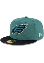 New Era Philadelphia Eagles Mens Green 2021 Sideline Road 59FIFTY Fitted Hat