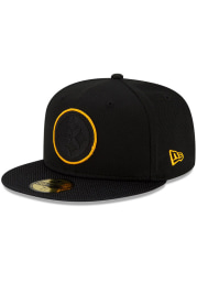 New Era Pittsburgh Steelers Mens Black 2021 Sideline Road 59FIFTY Fitted Hat