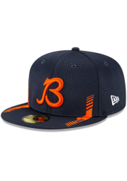 New Era Chicago Bears Mens Navy Blue 2021 Sideline Home 59FIFTY Fitted Hat