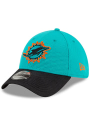 New Era Miami Dolphins Mens Teal 2021 Sideline Road 39THIRTY Flex Hat