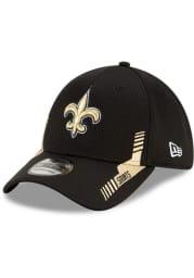 New Era New Orleans Saints Mens Black 2021 Sideline Home 39THIRTY Flex Hat