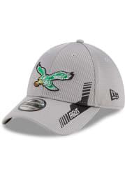 New Era Philadelphia Eagles Mens Grey 2021 Sideline Home 39THIRTY Flex Hat