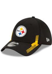 New Era Pittsburgh Steelers Mens Black 2021 Sideline Home 39THIRTY Flex Hat