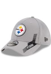 New Era Pittsburgh Steelers Mens Grey 2021 Sideline Home 39THIRTY Flex Hat