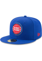 New Era Detroit Pistons Mens Blue Primary 59FIFTY Fitted Hat