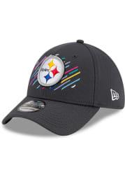 New Era Pittsburgh Steelers Mens Grey 2021 Crucial Catch 39THIRTY Flex Hat