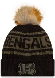New Era Cincinnati Bengals Black 2021 Salute to Service W Cuff Womens Knit Hat