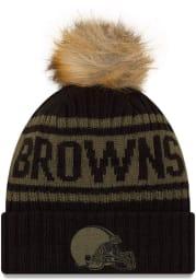New Era Cleveland Browns Black 2021 Salute to Service W Cuff Womens Knit Hat