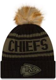 New Era Kansas City Chiefs Black 2021 Salute to Service W Cuff Womens Knit Hat