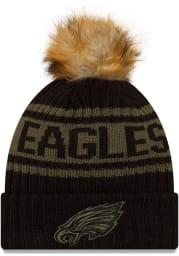 New Era Philadelphia Eagles Black 2021 Salute to Service W Cuff Womens Knit Hat