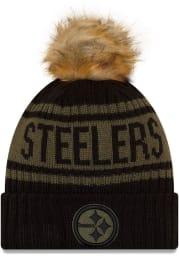 New Era Pittsburgh Steelers Black 2021 Salute to Service W Cuff Womens Knit Hat