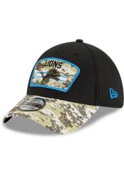 New Era Detroit Lions Mens Black 2021 Salute to Service 39THIRTY Flex Hat