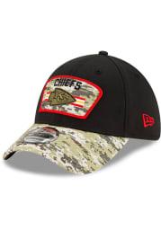 New Era Kansas City Chiefs Mens Black 2021 Salute to Service 39THIRTY Flex Hat