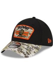 New Era Cleveland Browns Mens Black 2021 Salute to Service 39THIRTY Flex Hat
