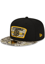 New Era Pittsburgh Steelers Mens Black 2021 Salute to Service 59FIFTY Fitted Hat