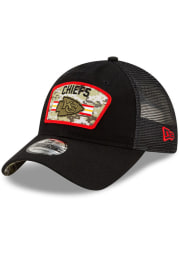 New Era Kansas City Chiefs 2021 Salute to Service Trucker 9TWENTY Adjustable Hat - Black