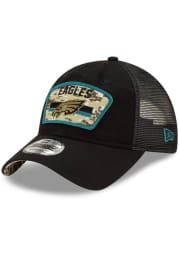 New Era Philadelphia Eagles 2021 Salute to Service Trucker 9TWENTY Adjustable Hat - Black
