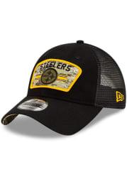 New Era Pittsburgh Steelers 2021 Salute to Service Trucker 9TWENTY Adjustable Hat - Black