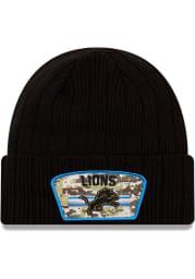 New Era Detroit Lions Black 2021 Salute to Service Sport Mens Knit Hat