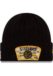 New Era Pittsburgh Steelers Black 2021 Salute to Service Sport Mens Knit Hat