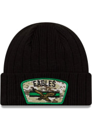 New Era Philadelphia Eagles Black 2021 Salute to Service Sport Mens Knit Hat