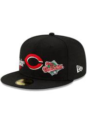 New Era Cincinnati Reds Mens Black Champion 59FIFTY Fitted Hat